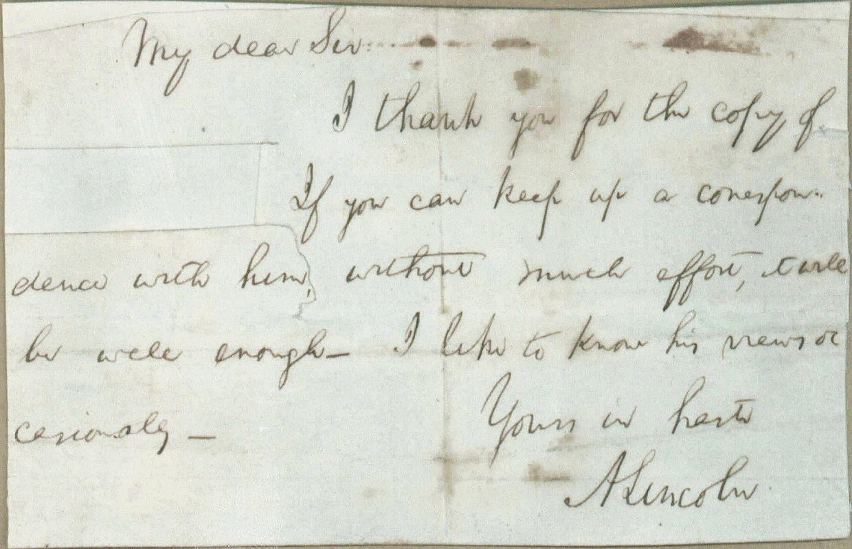 """New Abraham Lincoln Letter Reveals His """"Political"""" Side"""