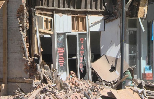 Downtown Taylorville Building Partially Collapses